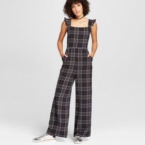 Black Plaid Wide Leg Jumpsuit Playsuit NWT
